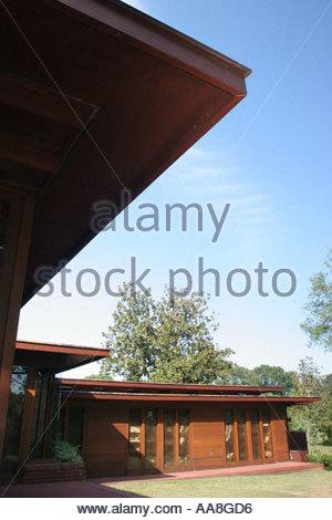 USA; Alabama Florence Rosenbaum House Frank Lloyd Wright architect Usonian  design built 1939 cypress glass brick -