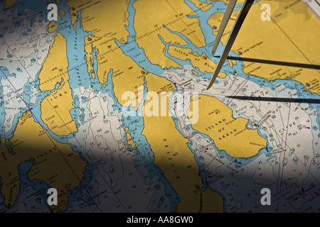 Map of the Glen Massan ship Scotland United Kingdom - Stock Photo