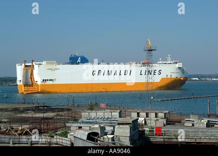 Car Transporter Ship Grande Europa Entering Southampton Docks on The Solent Hampshire England United Kingdom UK - Stock Photo