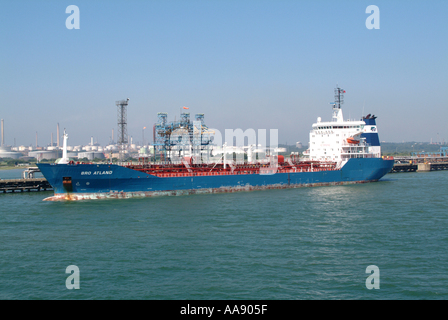 Chemical and Oil Tanker Bro Atland Berthed in Southampton Water on The Solent Hampshire England UK - Stock Photo