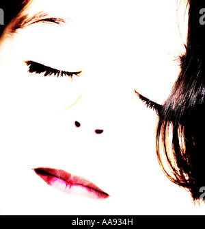 Girl smiles close up and high contrast - Stock Photo