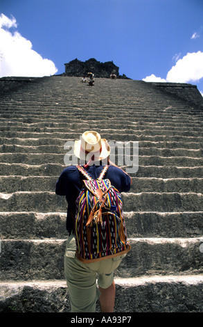 Temple II Mayan ruins Tikal Peten Guatemala - Stock Photo