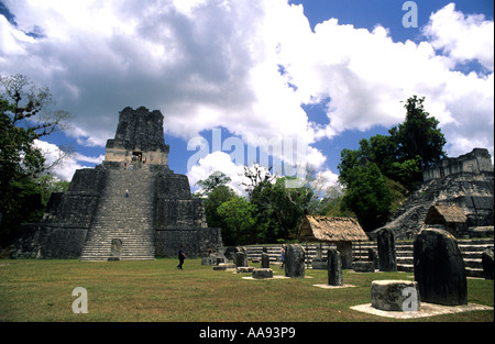 Temple II Mayan ruins of Tikal national park Peten region Guatemala - Stock Photo