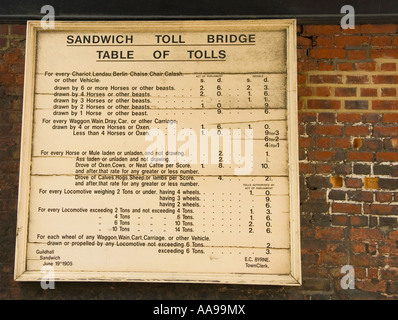 Original toll price plaque on the Barbican, near the old toll bridge over river Stour, Sandwich Kent England - Stock Photo
