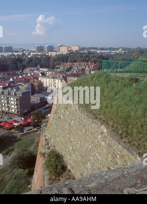 View over part of the town from Klodzko Fortress, Klodzko, Silesia, Poland. - Stock Photo