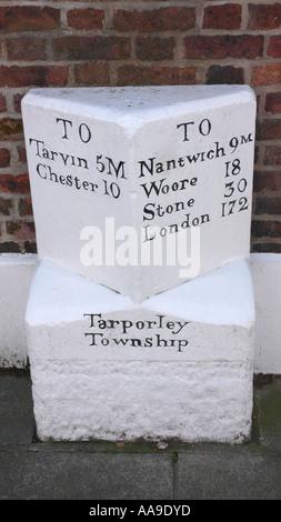 Milestone, Tarporley Cheshire England - Stock Photo
