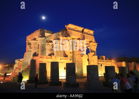 Dusk shot with the moon shining at the Temple of Haroeris and Sobek at Kom-Ombo on the River Nile, Egypt - Stock Photo
