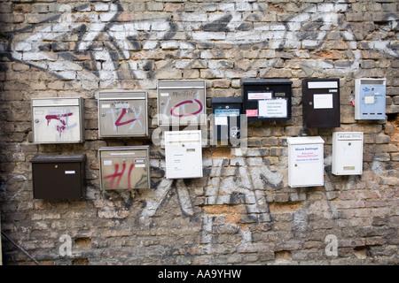 Letter boxes Prenzlauer Berg Berlin, Germany - Stock Photo