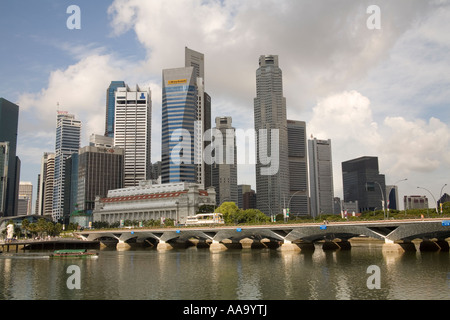 SINGAPORE CITY ASIA May Looking across the Singapore River towards the Anderson Bridge and the Fullerton Hotel - Stock Photo