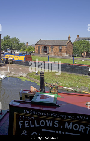 View across lock and canal at the Boat museum,National Waterways Museum.Ellesmere  Port,Cheshire,UK,GB,England, - Stock Photo