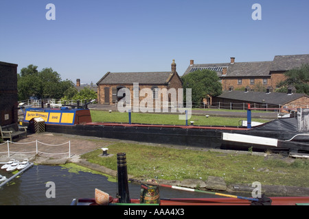 View across lock and canal at the Boat museum,National Waterways Museum,Ellesmere  Port,Cheshire,UK,GB,England, - Stock Photo