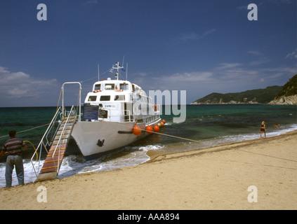 Sporades Pleasure Boat Megalos Asselinos Skiathos Island Greece Europe - Stock Photo