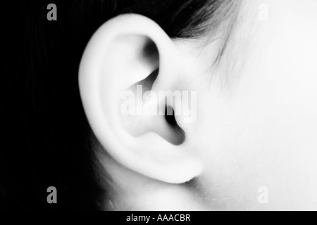 Girl's ear aged four years black and white - Stock Photo