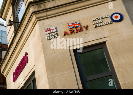 Careers in the Forces Royal Navy Army and Air Force building Central London office - Stock Photo