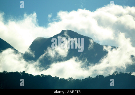 Early morning mist around the Volcan Baru mountainrange in the Chiriqui province, Republic of Panama. - Stock Photo
