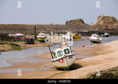 UK Cornwall Bude fishing boats in Bude Haven at low tide - Stock Photo