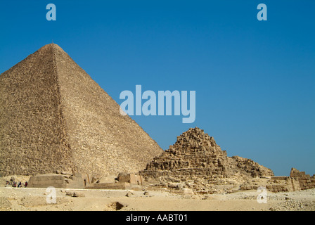 Queens pyramid next to the Great Pyramid of Khufu (Cheops), Giza, Cairo, Egypt - Stock Photo