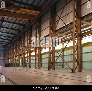 Rusty Beams Girders Inside Old Empty Warehouse, USA - Stock Photo