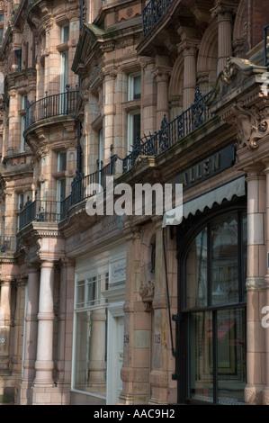 Terracotta building facades in Mount Street Mayfair London UK - Stock Photo