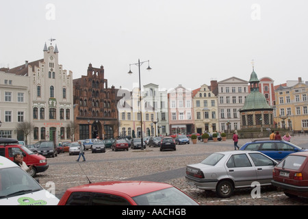 Hanseatic City of Wismar- Market Square  and the Historical Old Town, Mecklenburg Vorpommern Germany - Stock Photo
