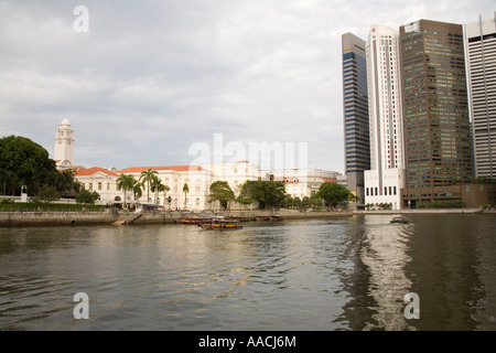 SINGAPORE CITY ASIA May Looking across the Singapore River from Boat Quay towards Raffles Place skyscrapers - Stock Photo