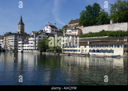 Old part of town with Schipfe at the Limmat river in Zurich, Switzerland - Stock Photo