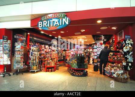 London Stansted Airport main terminal building interior shopping area with Glorious Britain souvenir and gift shop - Stock Photo