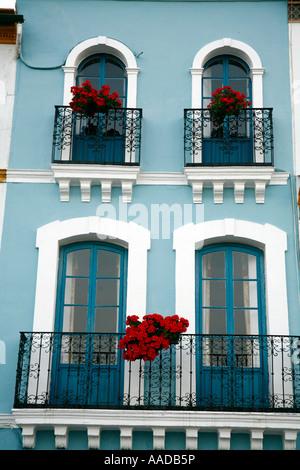 Typical house facade in Barrio Triana Seville Spain - Stock Photo