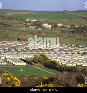 View Over Part Of Camping And Caravan Site At Croyde Bay From Yellow Gorse Covered Hill