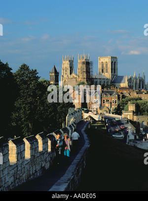 York Minster seen from the south west along the City Walls, York, North Yorkshire, England, UK. - Stock Photo
