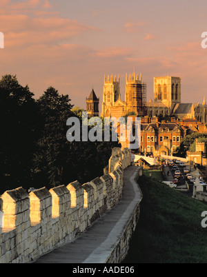 York Minster seen from the south west along the City Walls at sunset, City of York, North Yorkshire, England, UK. - Stock Photo
