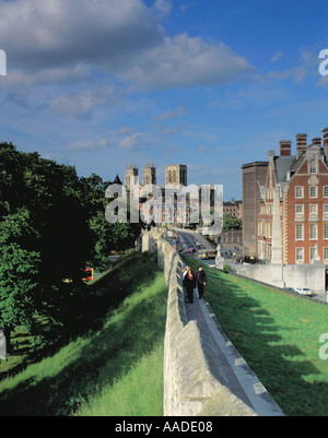 Picturesque view of York Minster seen from the south west along the City Walls, York, North Yorkshire, England, - Stock Photo