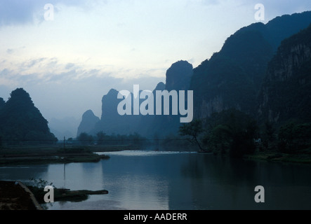 Li River from Fuli in Guangxi Province with karst mountains 2001 - Stock Photo