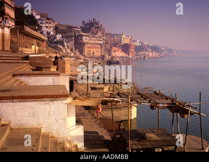 India Varanasi Ram Ghat and Great Mosque of Aurangzeb - Stock Photo