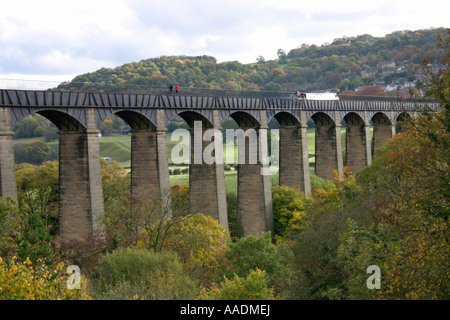 vale of llangollen aqueduct canal pont cysyllte wales uk gb - Stock Photo