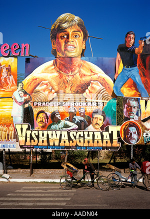 India Old Delhi gigantic Cinema Posters on Netaji Subhash - Stock Photo