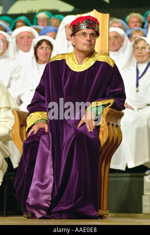 Dylan Iorwerth Crowned Bard at the National Eisteddfod of Wales Llanelli 2000 Carmarthenshire West Wales UK - Stock Photo