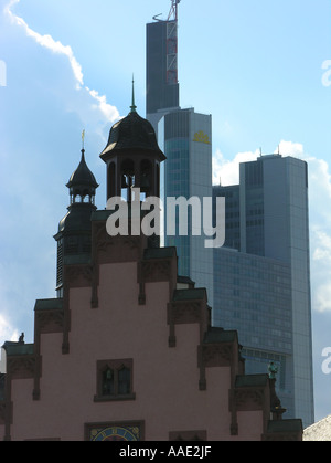 EU DE DEU Germany Hesse Frankfurt am Main The Roemerberg with the Old Town Hall Roemer and the Commerzbank skyscraper - Stock Photo