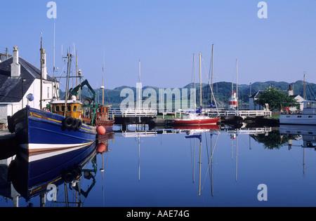 Crinan, first lock on Canal, Marina, boats, Argyllshire, west, western Scotland, UK, travel tourism, transport, - Stock Photo