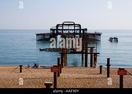 View of West pier -  Brighton Sussex England - Stock Photo