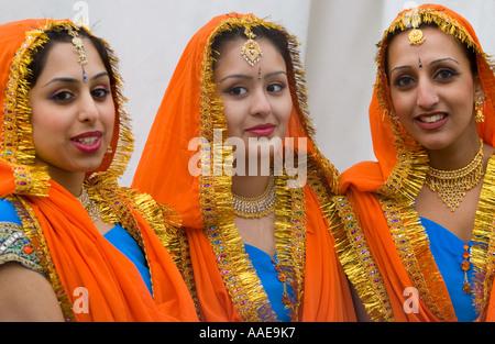 Pretty Sikh girls in National Dress - 'Trafalgar Square', London - [Sikh New Year Vaisakhi 2006] celebration - Stock Photo