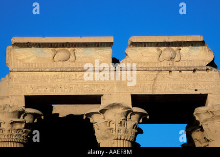 Cracked Pediment of the Hippostyle Hall, Temple of Haruris and Sobek, Kom Ombo, Egypt - Stock Photo