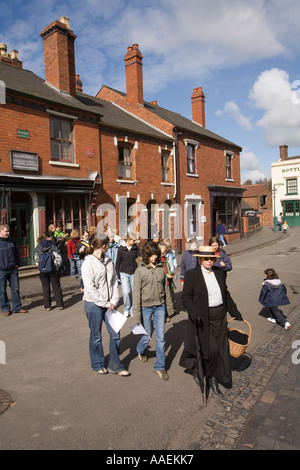 UK England West Midlands Dudley Black Country Museum group of schoolchildren in the street - Stock Photo