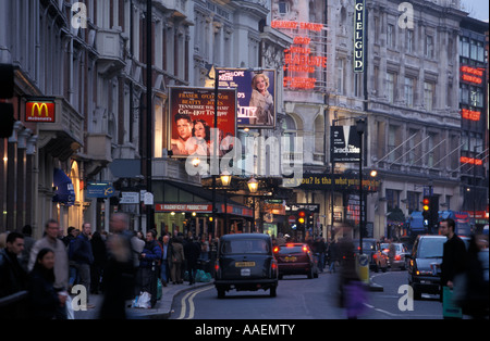 View along Saftesbury Avenue with several theatres London London England United Kingdom - Stock Photo