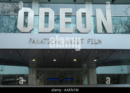 Close up of front of the Odeon Cinema in Leicester Square London England - Stock Photo