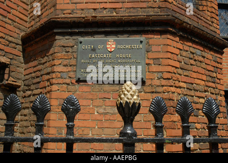 Plaque outside Eastgate House High Street Rochester Kent England - Stock Photo