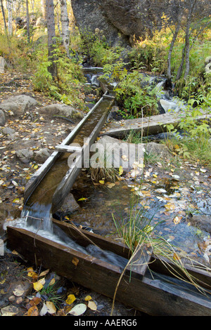 Wooden sluice traditionally used by gold panners near Inari Lapland Finland - Stock Photo