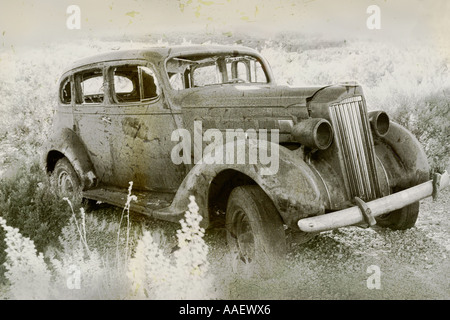 1937 Packard 1501 Club Sedan 4 door abandond in desert. faded  peeling paint. - Stock Photo