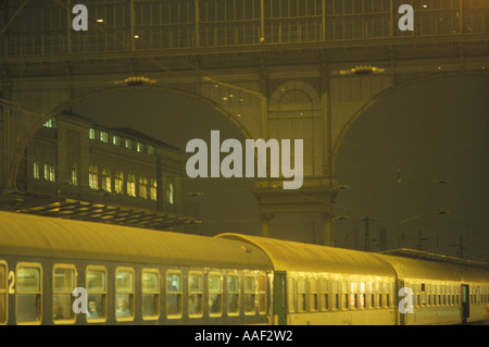 Budapest: Train Station at Night - Stock Photo