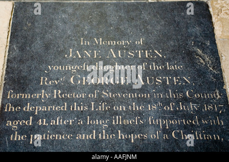 England. Hampshire. Winchester. Jane Austen grave in cathedral - Stock Photo